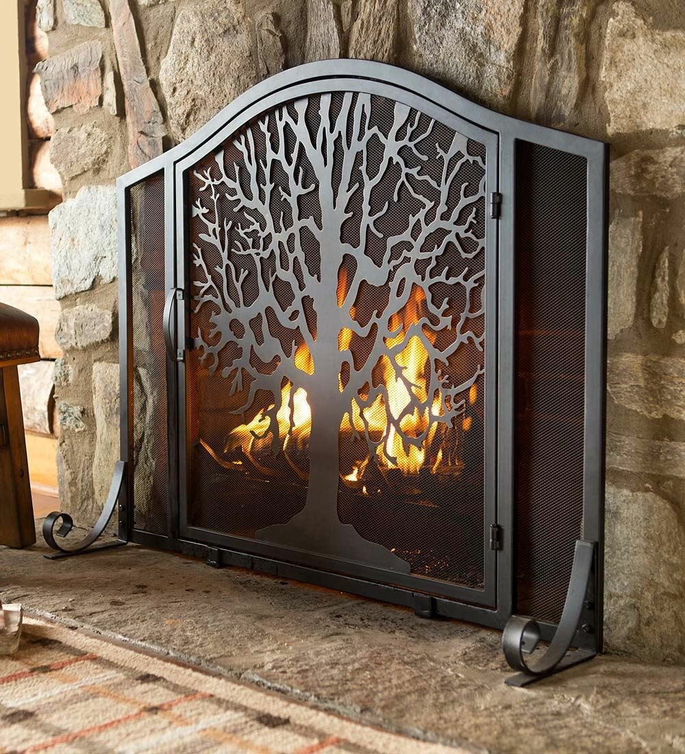 Plow Hearth Tree Of Life Single Panel Iron Fireplace Screen Reviews Wayfair