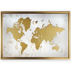 Gold foil world map wayfair framed world map graphic art print on canvas gumiabroncs Choice Image