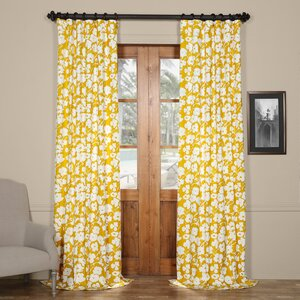 Griffith Nature/Floral Printed Cotton Twill Thermal Rod Pocket and Tab Top Single Curtain Panel