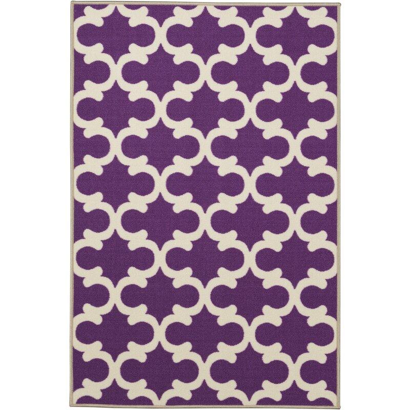 Fetzer Contemporary Purple Moroccan Trellis Area Rug
