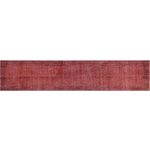 One-of-a-Kind Distressed Overdyed Almir Hand-Knotted Red Area Rug