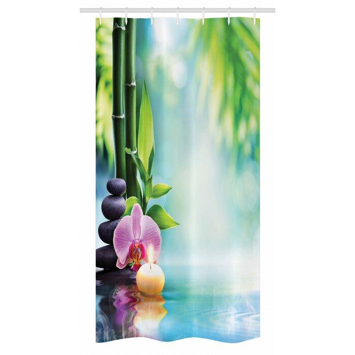 "Spa Stall Shower Curtain Asian Zen Massage Stones Print for Bathroom 36/""x72/"""