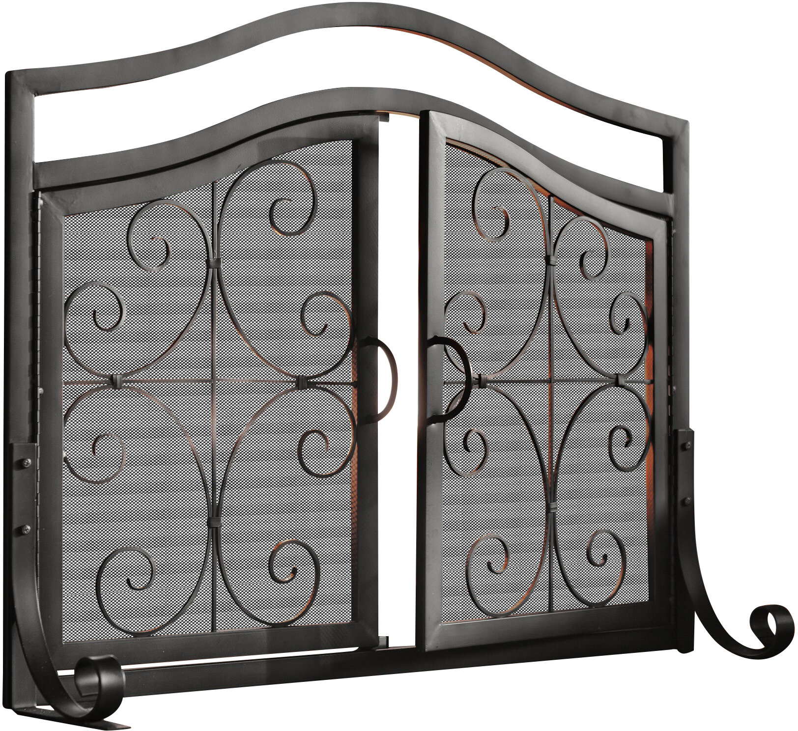 black iron fireplace screen. Plow  Hearth Small Crest Iron Fireplace Screen With Doors Reviews Wayfair