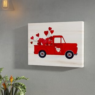 719c270ab71  Rustic Valentine Truck  Watercolor Painting Print on Wrapped Canvas