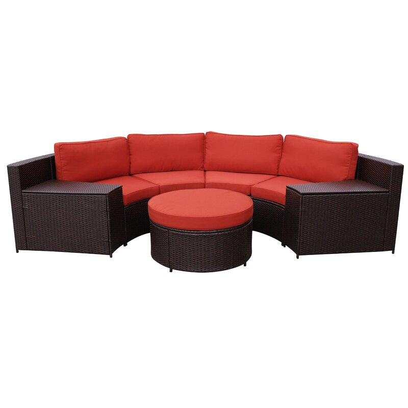 Soperton 5 Piece Rattan Sofa Seating Group With Cushions