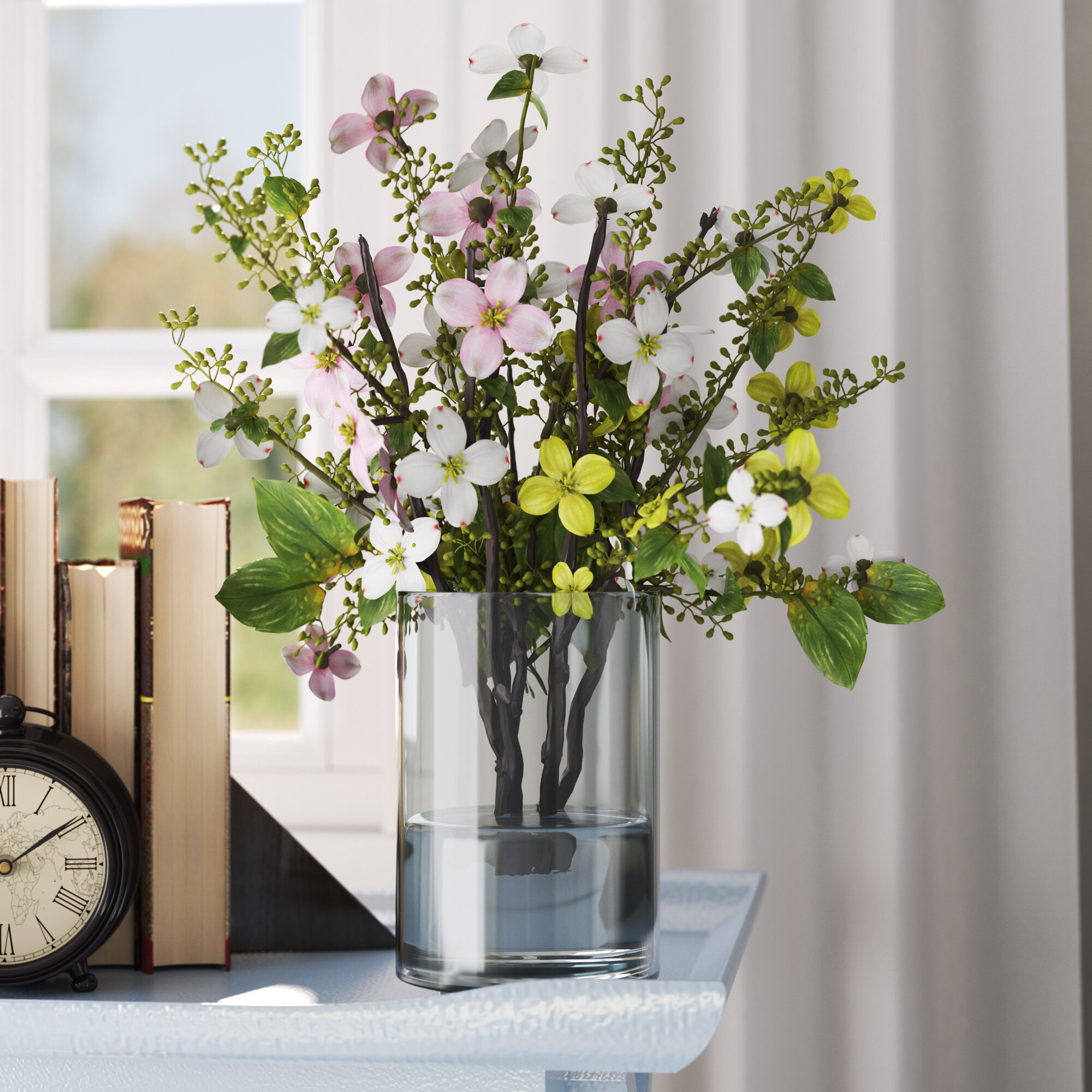 Three Posts Silk Dogwood With Vase Reviews Wayfair