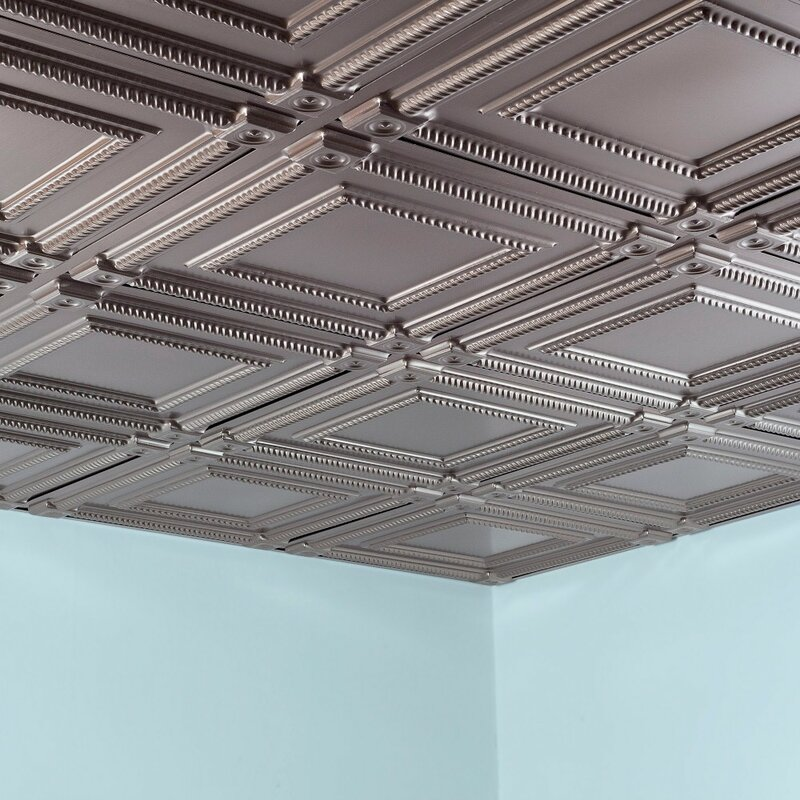 Fasade Coffer 2 Ft X 2 Ft Lay In Ceiling Tile In Brushed Nickel