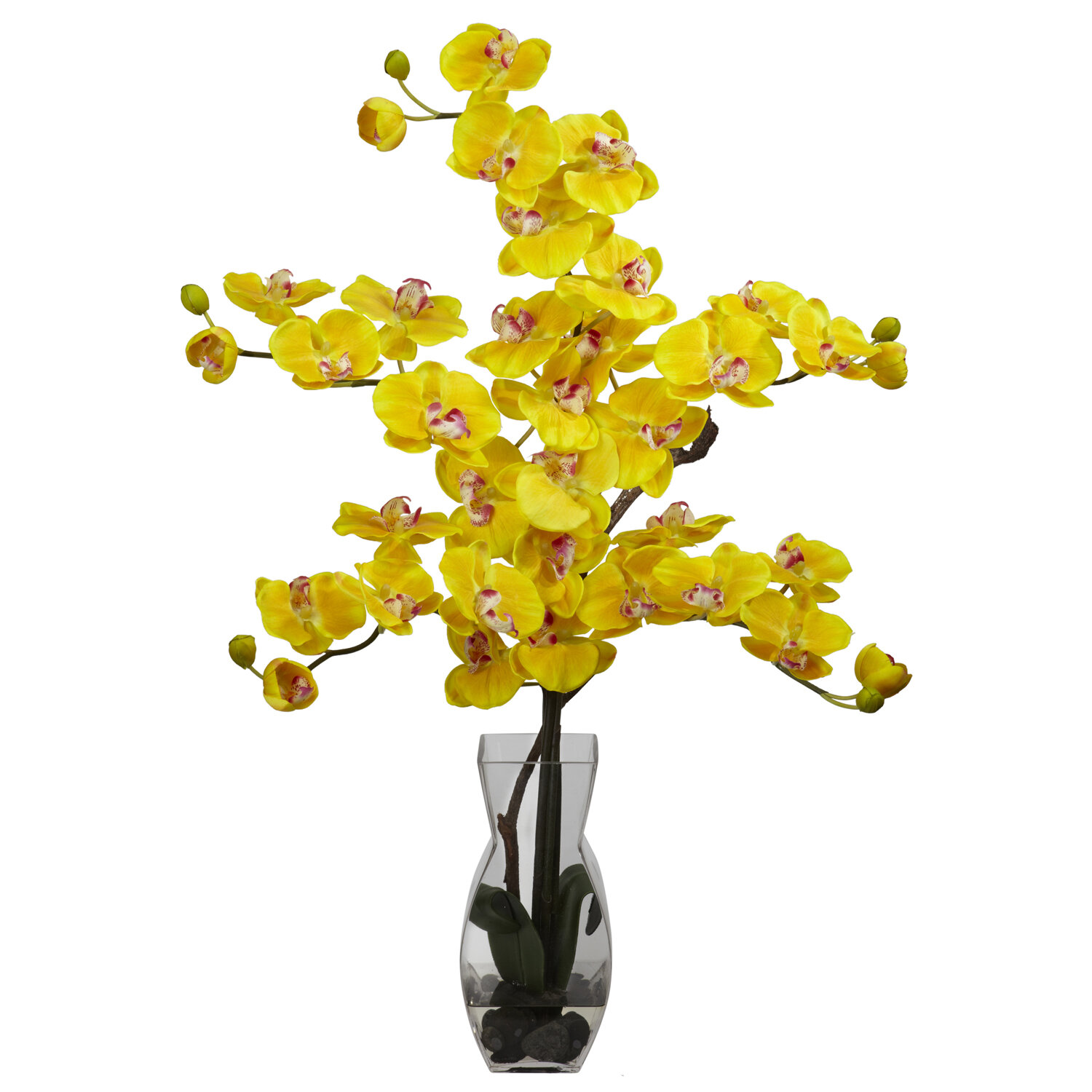 Nearly Natural Phalaenopsis with Vase Silk Flower Flowers in Yellow ...