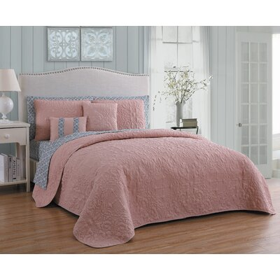 Melbourne 9 Piece Quilt Set Avondale Manor Color: Blush/gray, Size: King