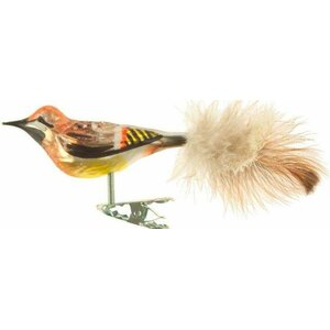 European Glass Ornament Waxwing Bird Clip