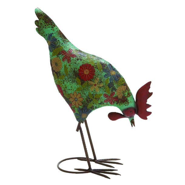 ABCHomeCollection Farmhouse Floral Rooster Statue