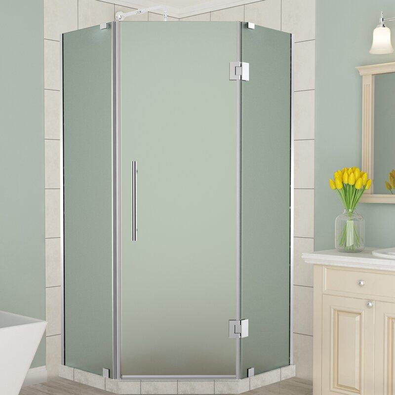 frameless frosted glass shower doors. Merrick Frameless Corner Neo-Angle Hinged Frosted Glass Shower Enclosure Doors