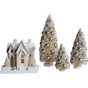 3 piece bottle brush christmas tree with ornaments set