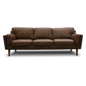 Kaufman Mid Century Modern Leather Sofa by Union Rustic