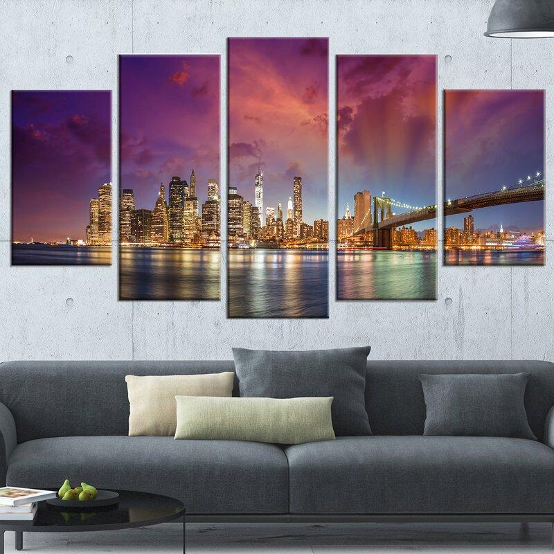 u0027New York City Manhattan Skylineu0027 5 Piece Wall Art on Wrapped Canvas Set in. u0027 & DesignArt u0027New York City Manhattan Skylineu0027 5 Piece Wall Art on ...
