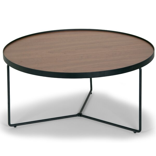 Glamour Home Decor Ailsa Rimmed Round Wooden Coffee Table Reviews Wayfair
