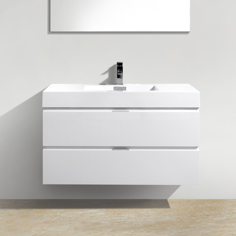 "Modern Bathroom Vanities Pompano Beach wade logan tenafly 40"" single wall mount modern bathroom vanity"