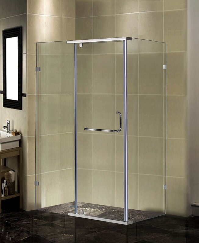 "Semi Frameless Shower Enclosures aston semi-frameless 48"" x 35"" x 75"" rectangular pivot shower"