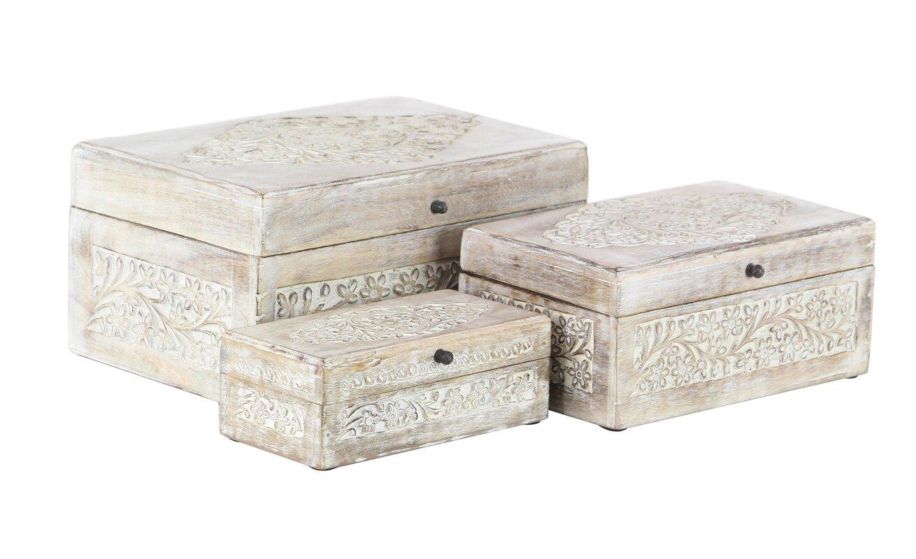Torrance Carved Natural Mango Wood 3 Piece Decorative Box