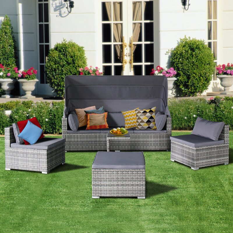 Rking 5 Piece Rattan Sectional Sofa Set With Cushions