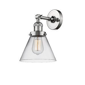 Glass Cone 1-Light Armed Sconce