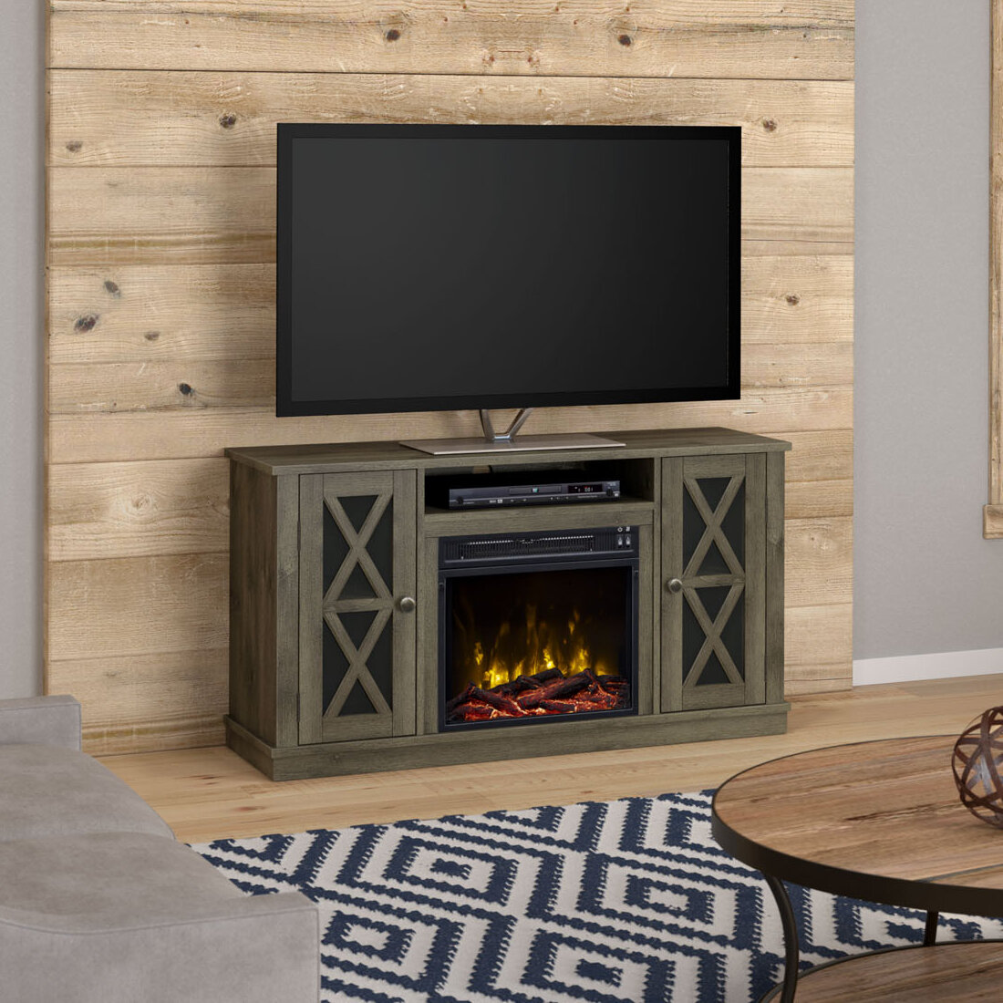 Breakwater Bay Emelia Tv Stand For Tvs Up To 55 With Optional Fireplace Reviews Wayfair