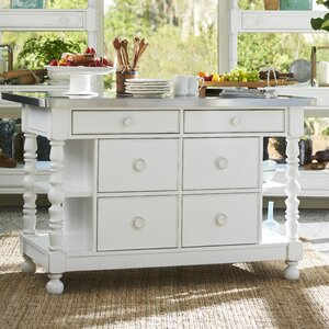 Tennille Kitchen Island with Stainless Steel Top