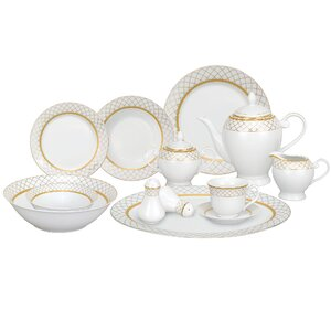 Beatrice Porcelain 57 Piece Dinnerware Set, Service for 8