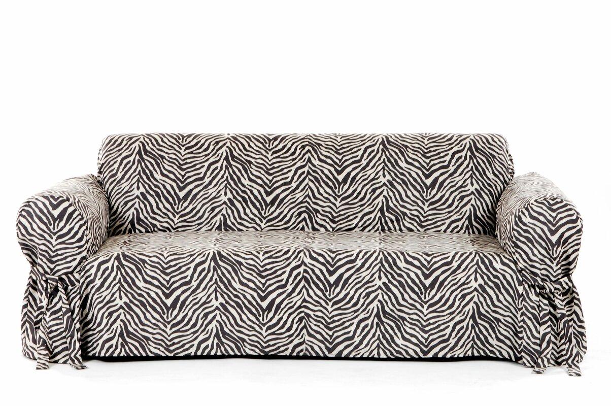 Good Zebra Print Box Cushion Sofa Slipcover