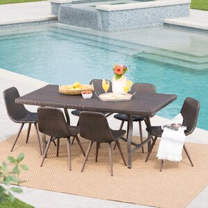 Bort Outdoor Wicker 7 Piece Dining Set