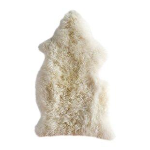 Lambskin Handmade Cream Area Rug by House Additions