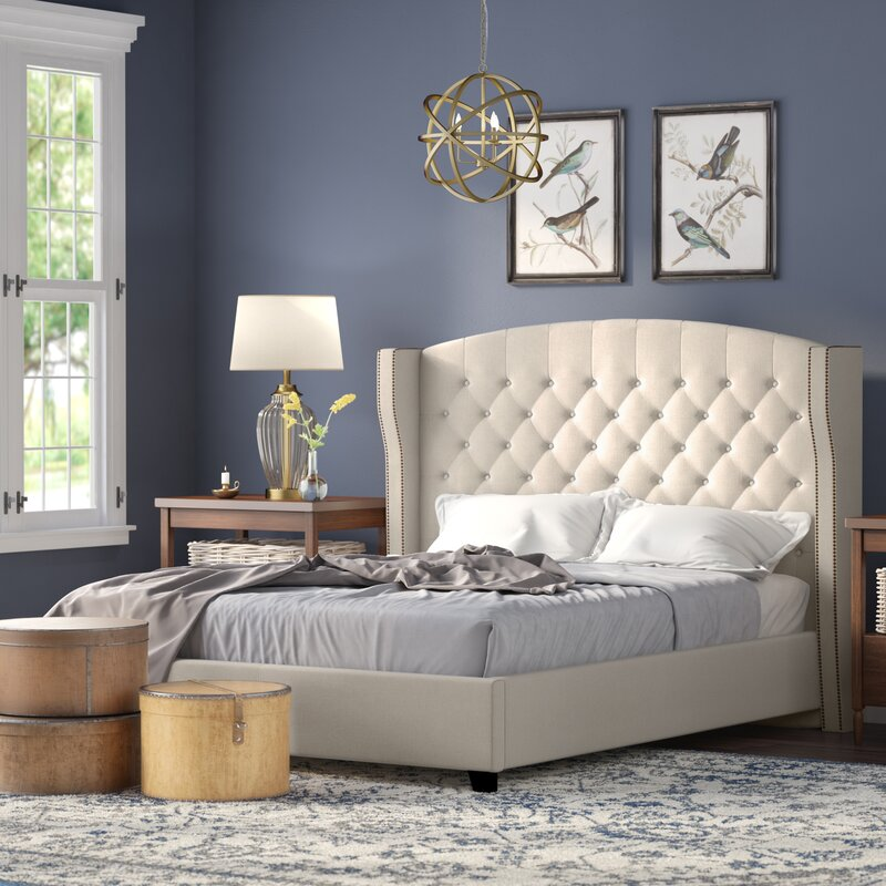 Arandike Nail Head Wing Back Tufted Upholstered Platform Bed