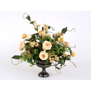 Champagne Mix of Silk Roses, Tulips and Dogwood with Foliage in Compote Urn