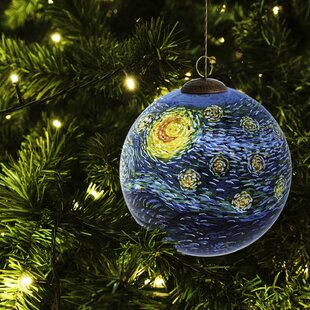 starry night hand painted glass ball ornament - How To Decorate A Glass Christmas Ornament