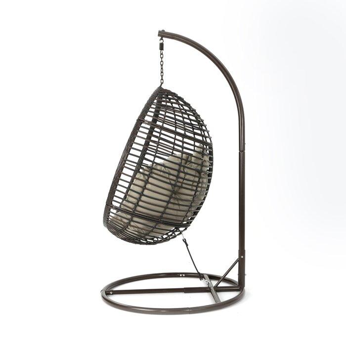 Delightful Weller Outdoor Wicker Basket Swing Chair With Stand