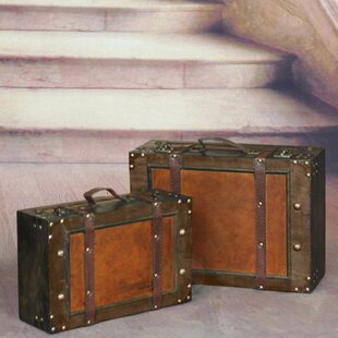 Nice Old Style Suitcase With Straps (Set Of 2)