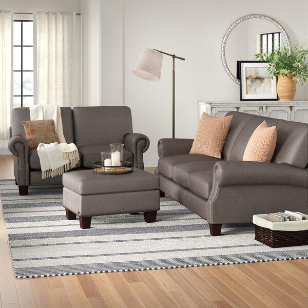 Gentil Charcoal Gray Leather Sofa | Wayfair