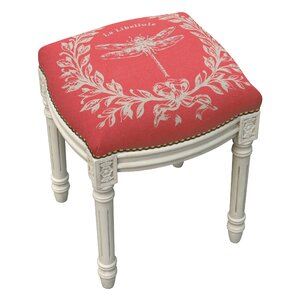 Beautiful Clematite Dragonfly Linen Upholstered Vanity Stool