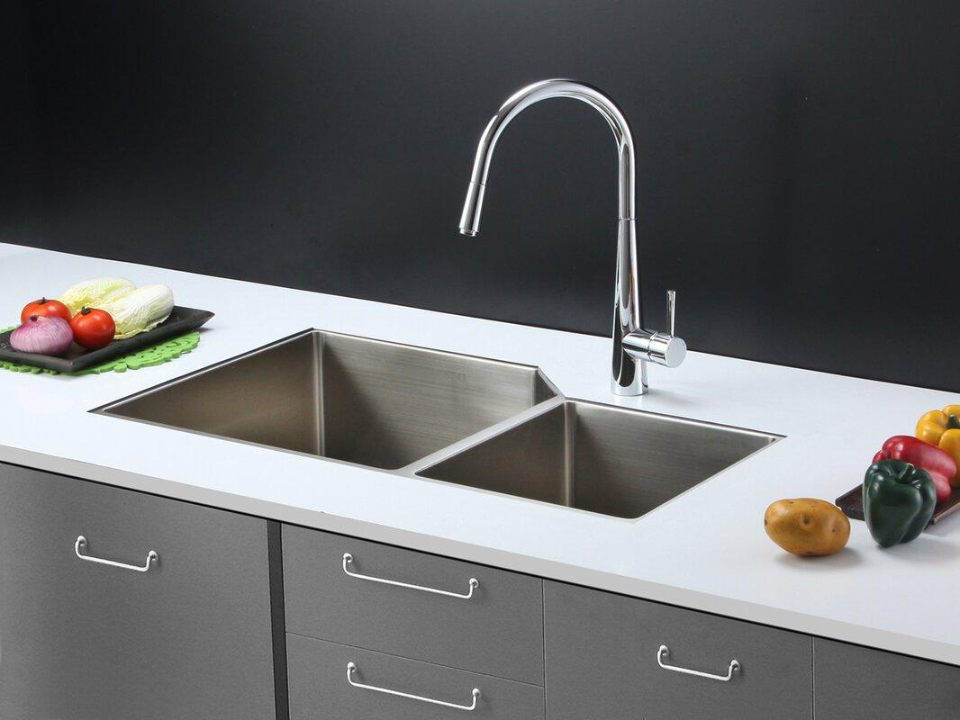 gravena 33   x 20   undermount double bowl kitchen sink ruvati gravena 33   x 20   undermount double bowl kitchen sink      rh   wayfair com