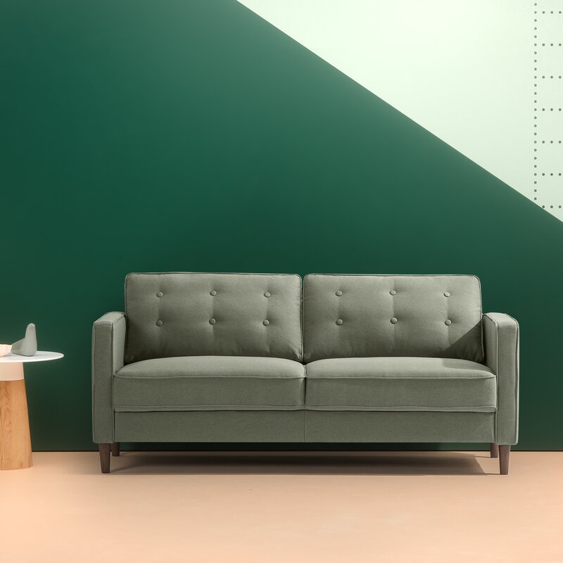 Superieur Beaudin Mid Century Button Tufted Upholstered Sofa