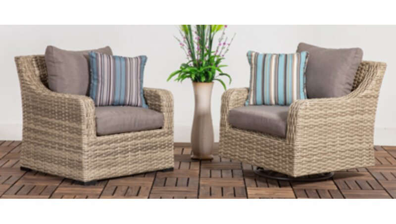 Rosecliff Heights Denny Patio Wicker Chair With Cushion | Wayfair