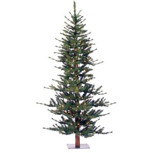 minnesota pine 6 green artificial half christmas tree with 200 clear lights with stand - Flat Christmas Tree