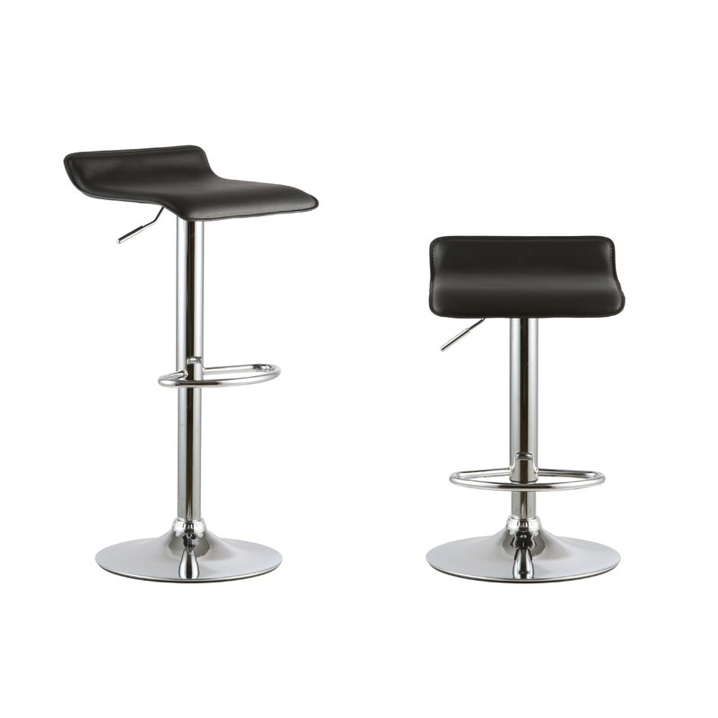 Attractiondesignhome 2 Piece Adjustable Height Swivel Bar Stool Set