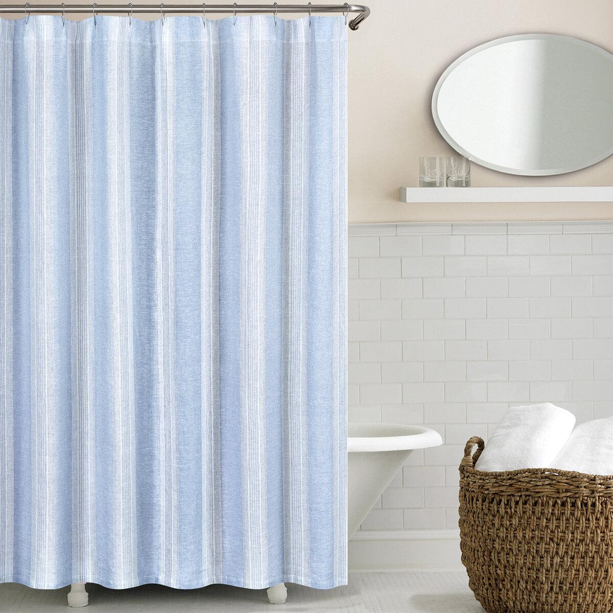 Echelon Home Stripe Washed Belgian Linen Shower Curtain & Reviews ...