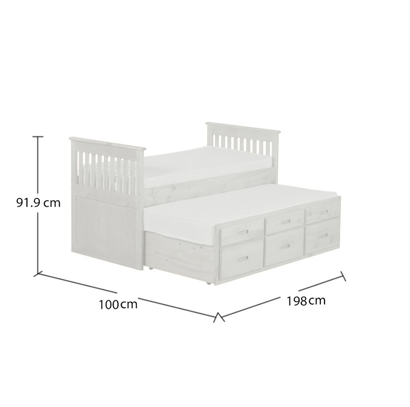 Just Kids Captains Single Bed Frame With Trundle And