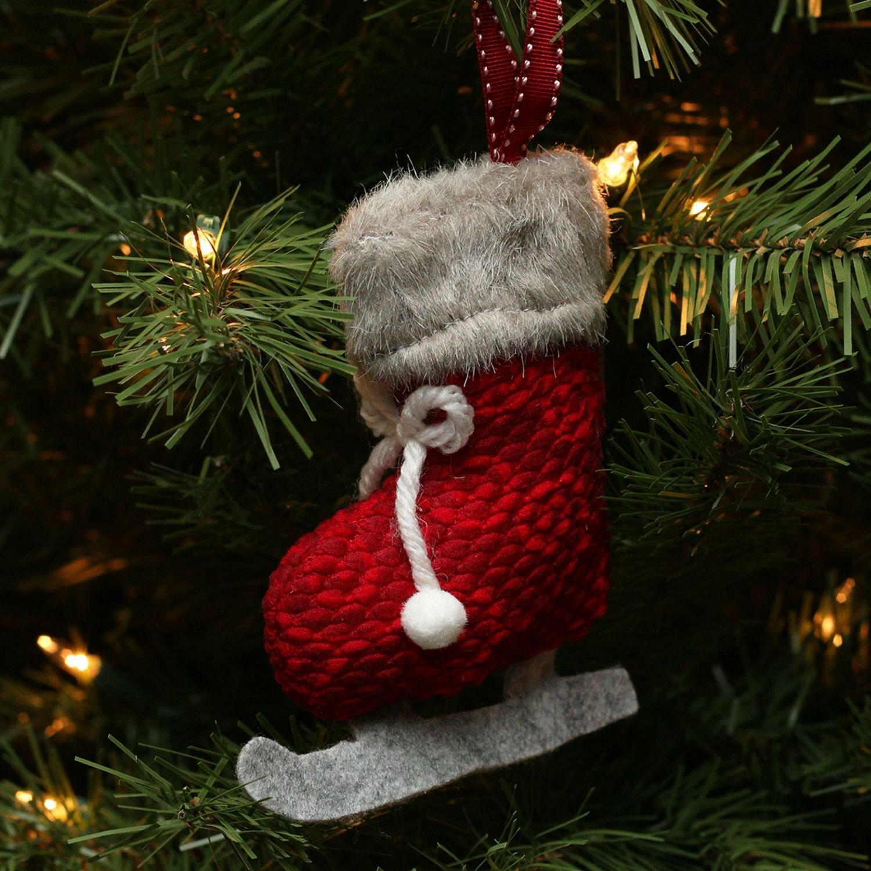 northlight plush knit ice skate christmas ornament wayfair - Ice Skating Christmas Ornaments