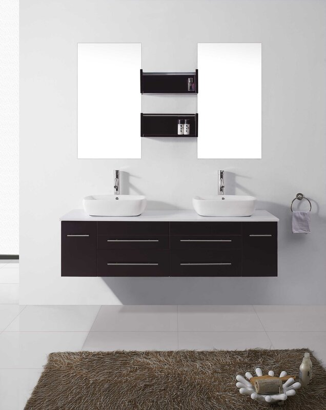 "virtu usa augustine 60"" double bathroom vanity set with white"
