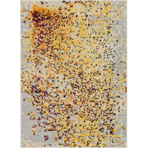 Angie Modern Abstract Paint Splash Yellow Area Rug