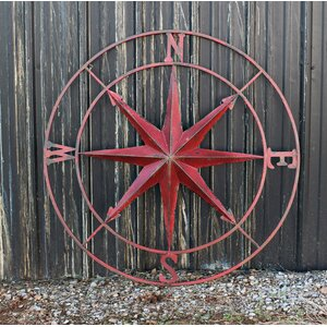 Round Metal Compass Wall Du00e9cor