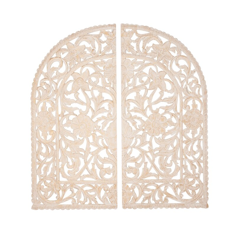 Bungalow Rose Traditional Wood Arched Ornate Wall Decor   Wayfair